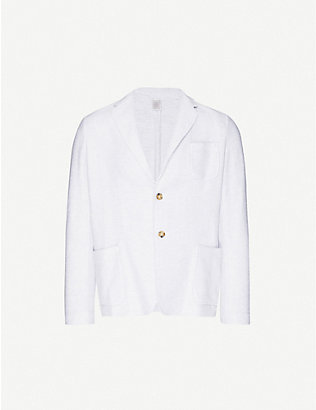 ELEVENTY: Geometric-weave single-breasted cotton blazer