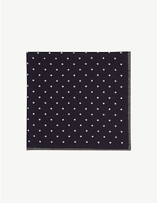 ELEVENTY: Polka dot pattern wool and cotton pocket square