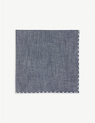 ELEVENTY: Embroidered trim cotton pocket square