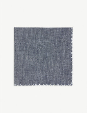 ELEVENTY Embroidered trim cotton pocket square
