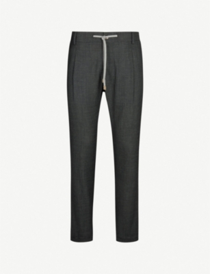 ELEVENTY Drawstring regular-fit straight wool, silk and linen-blend trousers