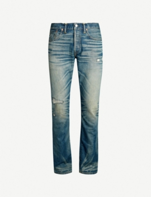 RRL Ripped slim-fit straight jeans