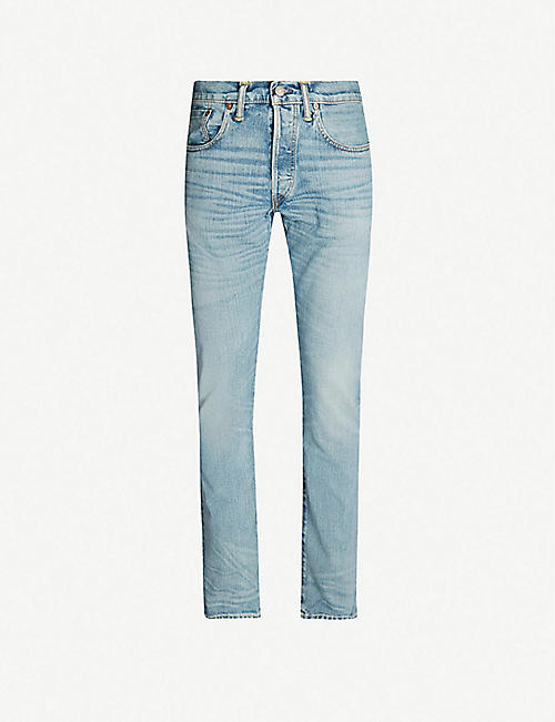 RRL Faded slim-fit straight jeans