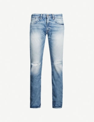 RRL Faded ripped slim-fit straight jeans