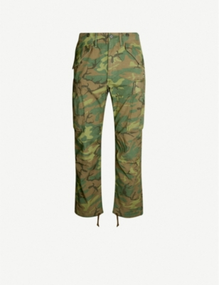 RRL Camouflage-print regular-fit tapered cotton trousers