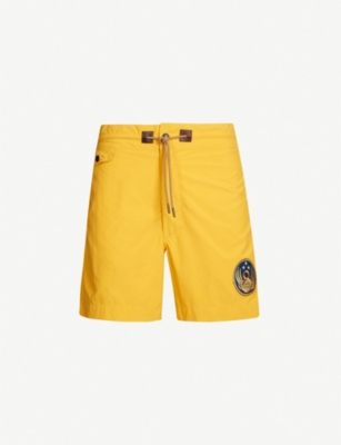 RRL Embroidered-patch swim shorts