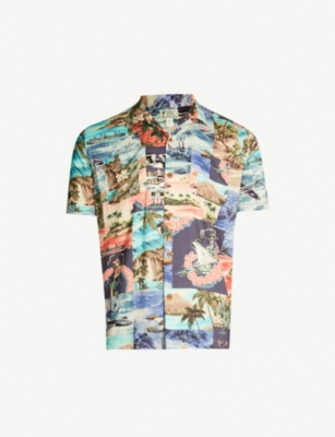 RRL Graphic-pattern relaxed-fit woven shirt