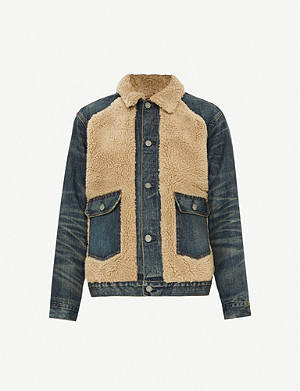 RRL Grizzly denim and fleece jacket