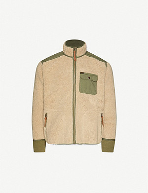 RRL Funnel-neck faux-shearling jacket