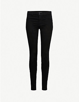 J BRAND: 485 Luxe Sateen super-skinny mid-rise jeans