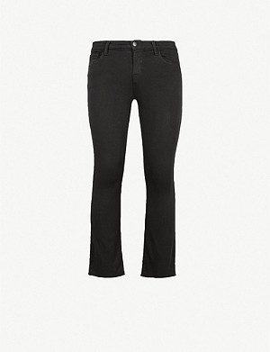 J BRAND Selena frayed-hem mid-rise cropped boot-cut jeans