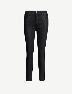 J BRAND Alana coated skinny cropped high-rise jeans
