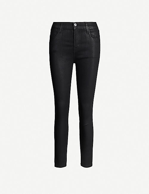 J BRAND: Alana coated skinny cropped high-rise jeans