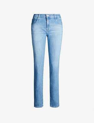 J BRAND Johnny mid-rise ripped straight-leg jeans