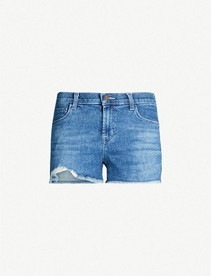 J BRAND 1044 frayed-hem mid-rise denim shorts