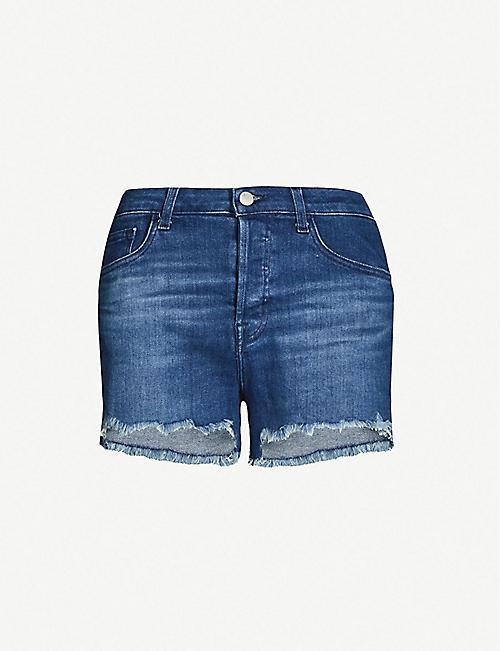 43f13a601836e J BRAND Gracie high-rise frayed-hem denim shorts