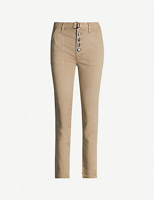 J BRAND Kyrah cropped cotton-blend twill straight-leg high-rise trousers