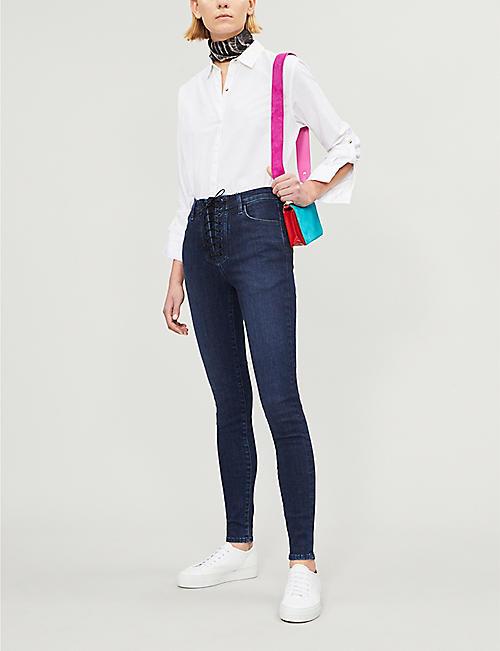 3ea82b261b J BRAND J Brand x Steph Shep Maria lace-up skinny high-rise jeans