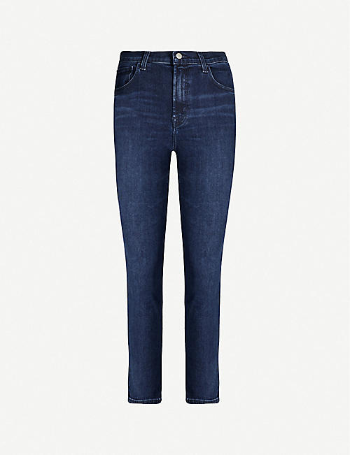 J BRAND Ruby cropped straight-leg faded high-rise jeans