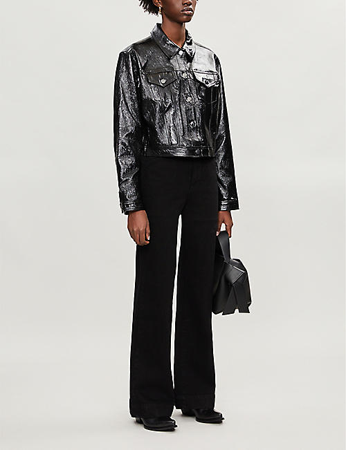 J BRAND Cyra cropped patent-leather jacket