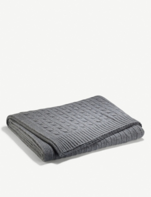 RALPH LAUREN HOME Cable-knit cashmere throw 150x150cm