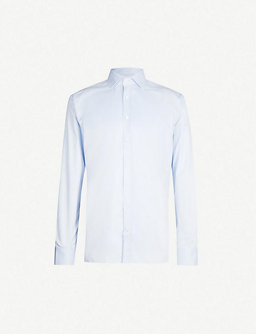 OSCAR JACOBSON: Hawk long-sleeved classic-fit cotton shirt