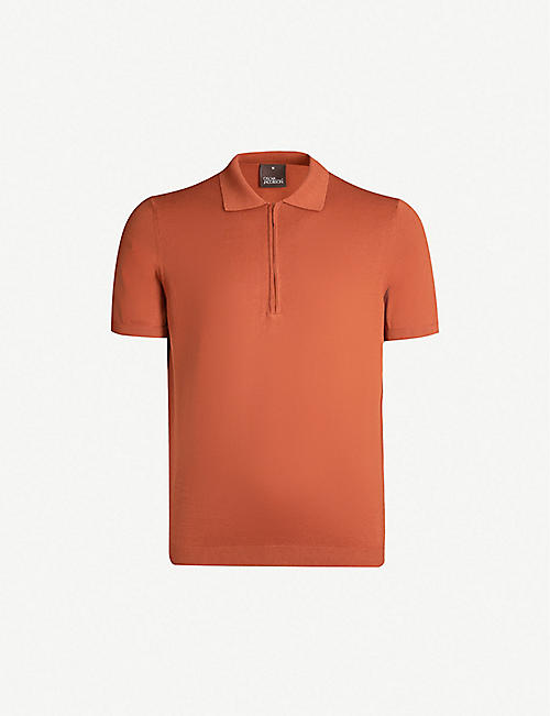 OSCAR JACOBSON Otto cotton-knit polo shirt