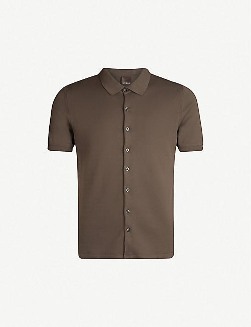 OSCAR JACOBSON Celvin button-front cotton-jersey polo shirt