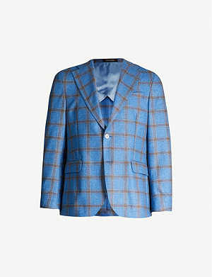 OSCAR JACOBSON Fellow checked regular-fit wool and cashmere-blend blazer