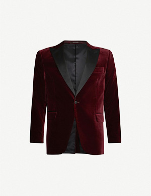 OSCAR JACOBSON Frampton slim-fit velvet tuxedo jacket