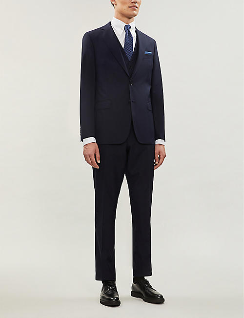 OSCAR JACOBSON Diego slim-fit tapered leg wool trousers