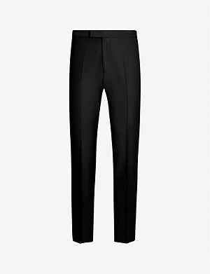 OSCAR JACOBSON Devon straight wool tuxedo trousers