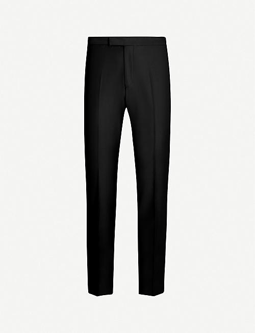 OSCAR JACOBSON: Devon straight wool tuxedo trousers