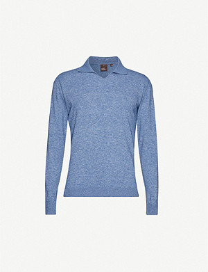 OSCAR JACOBSON Oliwer collared cotton-knit jumper