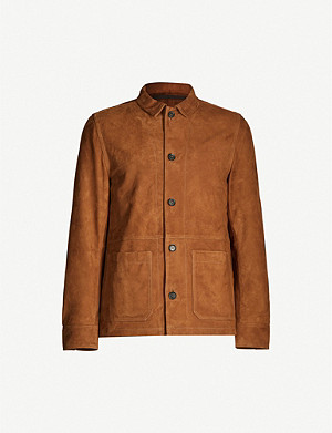 OSCAR JACOBSON Tulio button-up suede overshirt
