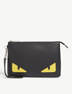 FENDI Monster eyes leather wash bag