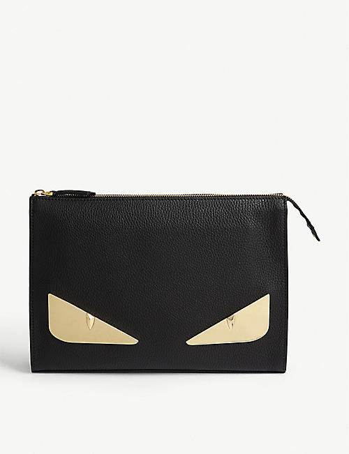 FENDI: Bad Bugs leather pouch