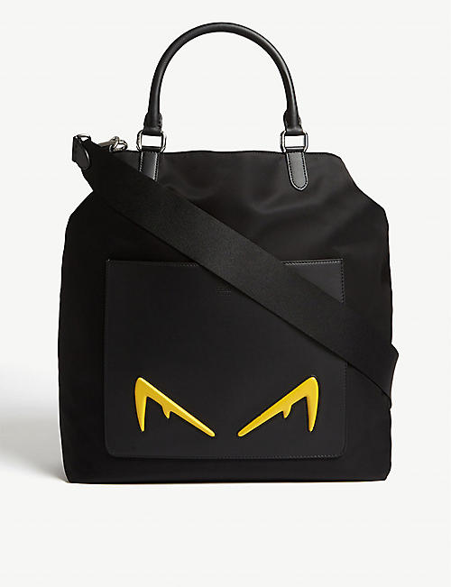 FENDI Diabolic Eyes nylon and leather tote bag