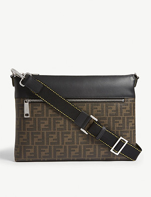 FENDI Logo-printed canvas and leather messenger bag