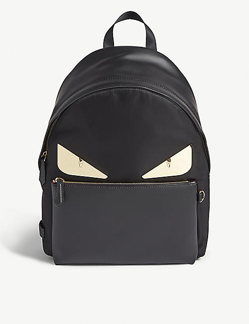 FENDI: Bag Bugs leather-trimmed nylon backpack