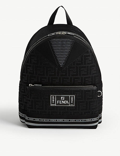 FENDI Logo tape canvas and suede backpack