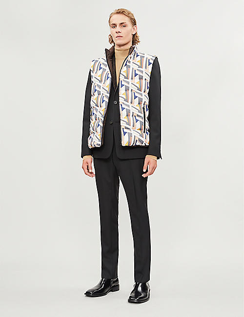 FENDI Reversible graphic-print shell-down gilet