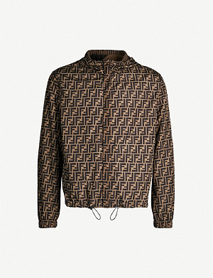 FENDI Logo-print shell hooded track jacket