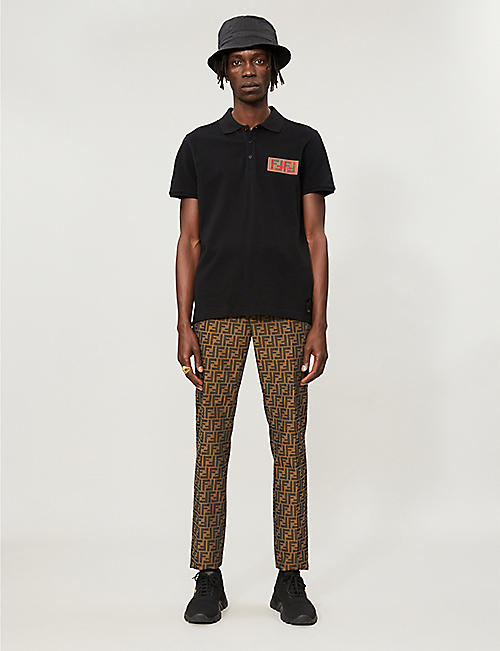 FENDI Logo-patch cotton-piqué polo shirt