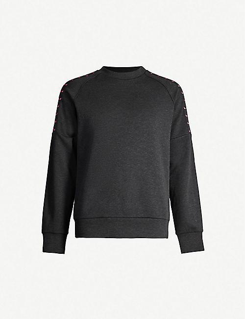 42831543ef FENDI Logo-taped cotton-blend sweatshirt