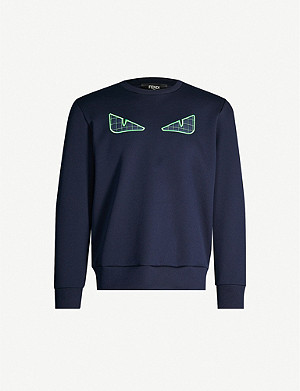 FENDI Bag Bugs-embroidered cotton-blend sweatshirt