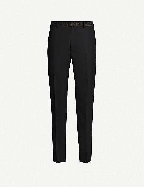 FENDI Logo-print tapered woven trousers
