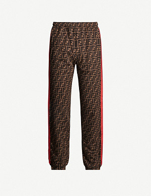 FENDI Rainbow side-stripe logo-print cotton-jersey jogging bottoms