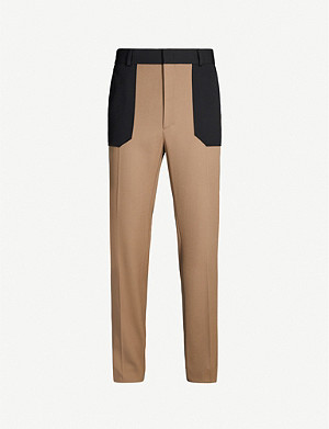 FENDI Bicolour regular-fit wool trousers