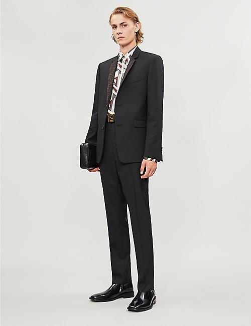 FENDI Logo-print regular-fit woven blazer